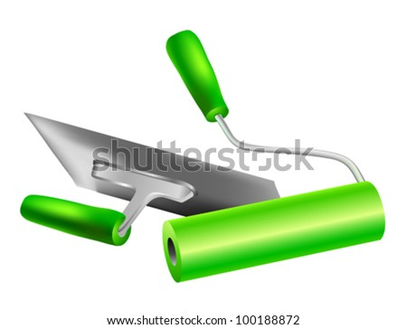 spatula and roll with green handles on a white background