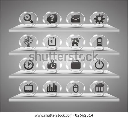 Speach web icons ,Transparent glass buttons