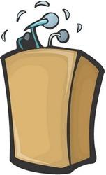 Speaker and desk Character : vector illustration