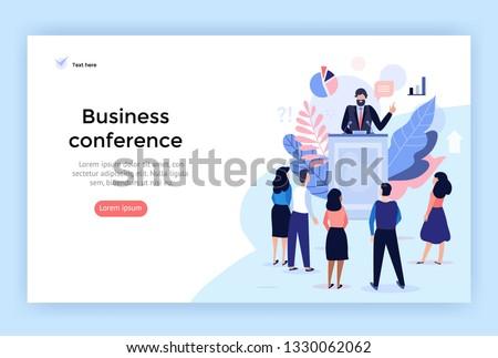 Speaker at Business Conference concept illustration, perfect for web design, banner, mobile app, landing page, vector flat design