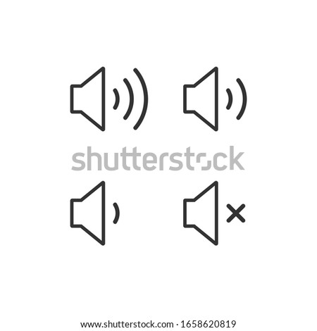 Speaker audio icon set. Volume voice control on off mute symbol. Flat application interface sound sign. Outline shape. Vector illustration image. Isolated on white background.