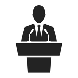 speaker black icon. orator speaking from tribune vector illustration