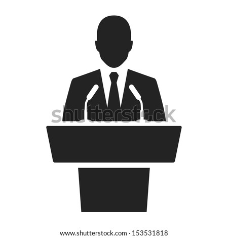 Shutterstock speaker black icon. orator speaking from tribune vector illustration
