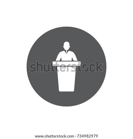 speaker black icon. orator speaking from tribune vector illustration on white background.