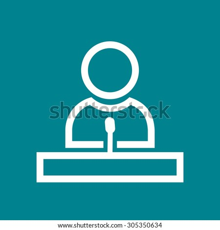 Speaker, guest, lecture, speech icon vector image. Can also be used for education, academics and science. Suitable for use on web apps, mobile apps, and print media.