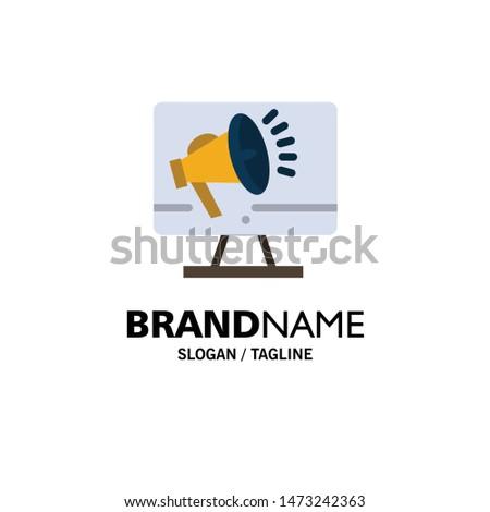 Speaker, High Volume, Loudspeaker, Speaker, Voice Business Logo Template. Flat Color