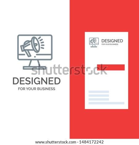 Speaker, High Volume, Loudspeaker, Speaker, Voice Grey Logo Design and Business Card Template. Vector Icon Template background
