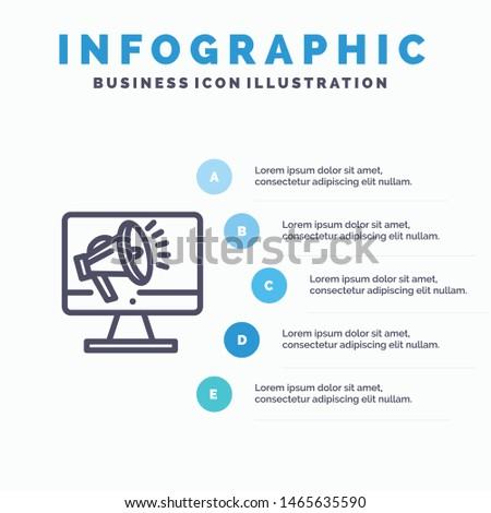 Speaker, High Volume, Loudspeaker, Speaker, Voice Line icon with 5 steps presentation infographics Background. Vector Icon Template background
