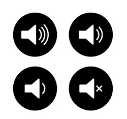 Speaker icon button set. Volume control on/off mute symbol. Flat application interface sign. Vector illustration image. Isolated on white background.