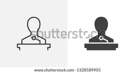 Speaker icon. line and glyph version, outline and filled vector sign. Orator speaking from tribune linear and full pictogram. Lecture symbol, logo illustration. Different style icons set