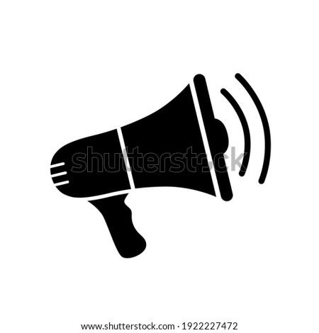Speaker icon. Loudspeaker sign. Loud announce. Shout in megaphone. Bullhorn alert. Noise speaker. Speak news announcement. Loud sound horn. Notify icon isolated on white background. Voice. Vector