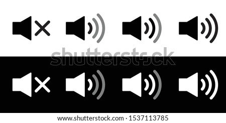 Speaker icon set. Flat sound speaker music icon symbol set black and white. Megaphone icon set. Realistic speaker or sound notification. Mute, low, medium, and high or maximum volume.