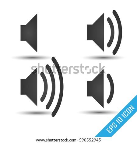 Speaker icon. Volume of sound signs set. Simple flat logo of speaker on white background. Vector illustration.