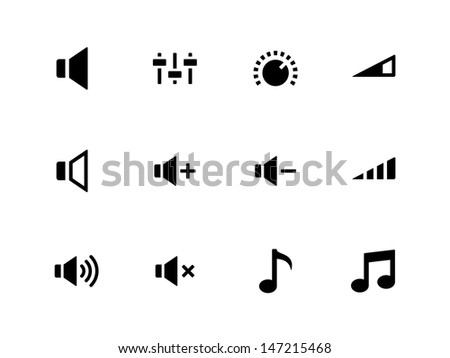 Speaker icons on white background. Volume control. Vector illustration.