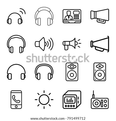 Speaker icons. set of 16 editable outline speaker icons such as headphones, phone call, radio, volume, tv speaker, headset, megaphone