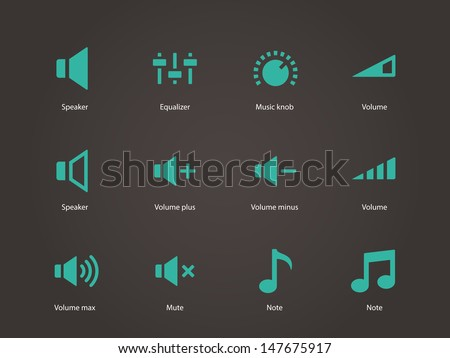 Speaker icons. Volume control. Vector illustration.