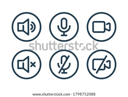 Speaker, Mic and Video Camera related icons. Basic icons for Video Conference, Webinar and Video chat.
