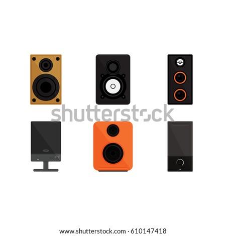 Speaker on white background vector concept. Sound speaker illustration in modern flat style. Color picture for design web site, web banner, printed material. Home speaker flat icon set. Vector element