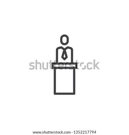 Speaker orator man line icon. linear style sign for mobile concept and web design. Business man standing at podium tribune outline vector icon. Symbol, logo illustration. Pixel perfect vector graphics