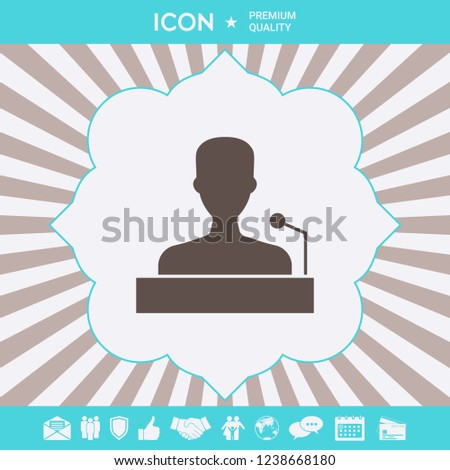 Speaker, orator speaking from tribune icon. Graphic elements for your design