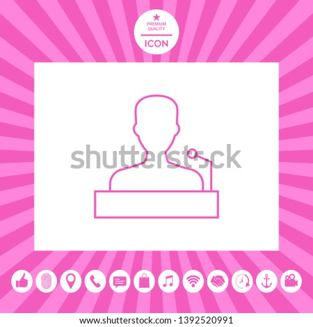 Speaker, orator speaking from tribune - line icon. Graphic elements for your design