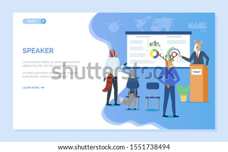 Speaker showing charts report on board, hipster animal audience and presentation, rabbit and deer, cat back view, training or seminar vector. Blue website or webpage template, landing page flat style