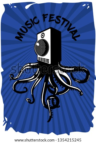 Speaker sound system with octopus. Music festival vintage poster. Electronic party banner template.