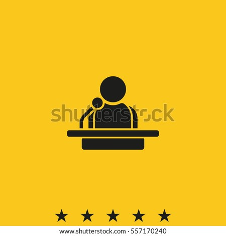 Speaker vector icon isolated on yellow background. Orator speaking from tribune illustration. Public speaking clipart. Simple flat narrator pictogram.