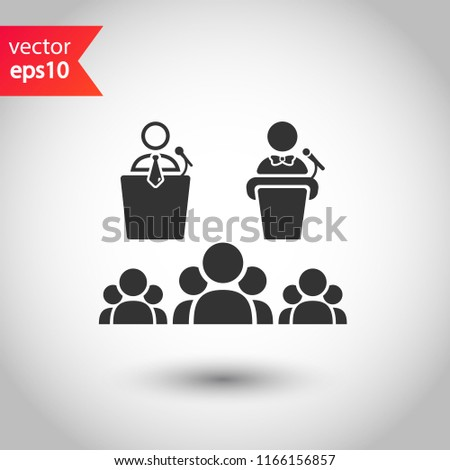Speaker vector icon. Podium speech sign. Conference presentation speech icon. Tribune orator speech sign. Audience spokesman symbol. EPS 10 flat symbol.