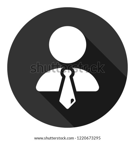 Speaker vector icon. Podium speech sign. Conference presentation speech icon. Tribune orator speech sign. Audience spokesman symbol. EPS 10 flat symbol. Round icon with shadow