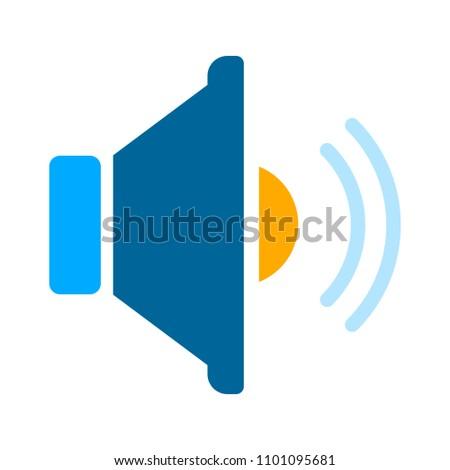 Speaker volume icon - audio voice sound symbol, media music - vector loudspeaker