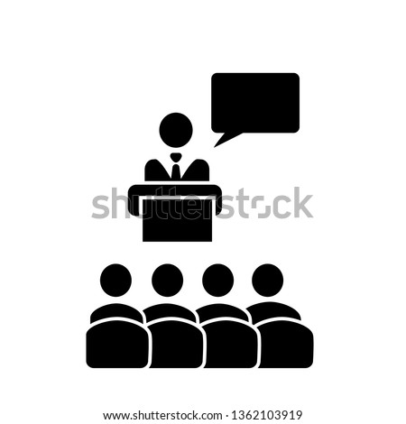 Speaker with audience and speech bubble vector icon in flat solid black style. Podium conference presentation sign. Speaker on the pedestal. Tribune orator concept of Business meeting, discussion or