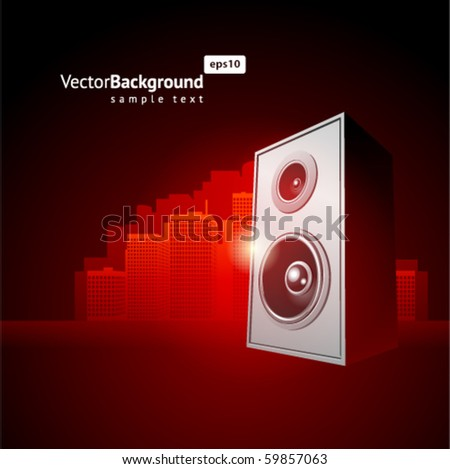 Speaker with music vector background