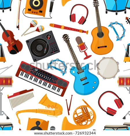 Speakers, amplifier, synthesizer and other music instruments and accessories. Vector seamless pattern with musical instrument, guita and microphone illustration