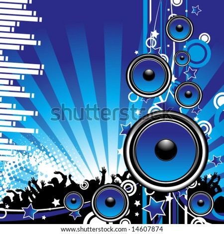 Speakers on blue grunge background
