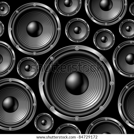 Speakers seamless background - vector pattern for continuous replicate. See more seamlessly backgrounds in my portfolio. - stock vector