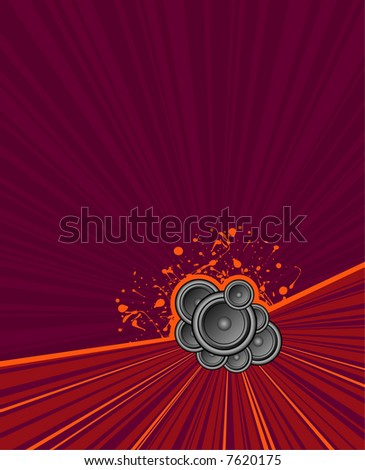 speakers set on purple grunge rush background