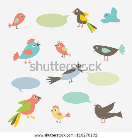 Speaking birds with speech bubbles. Vector illustration.