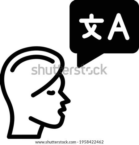 Speaking comprehension Vector glyph Icon Design, Language Translation symbol on white background, Dub localization stock illustration, Spoken Language Course Concept Stock photo ©
