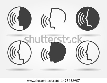 Speaking icons. Talk or talking person sign, man with open mouth, speech icon for interview, interact and talks controls, vector illustration
