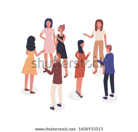 Speaking people vector illustration. Acquaintance and communication, dialogue, conversation concept. Society, talking man and women at social event cartoon characters isolated on white background. Stockfoto ©