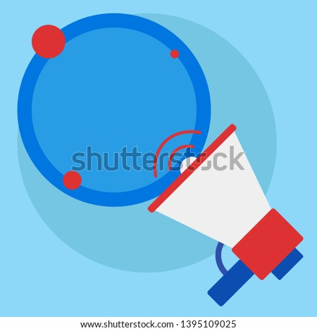 SpeakingTrumpet with Volume Icon and Blank Round Speech Bubble. Colored Empty Text Balloon Floating beside Megaphone. Creative Background Space for Announcements and Clippings