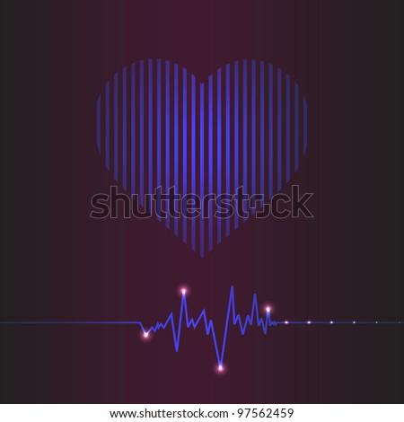 special abstract heart beats cardiogram illustration