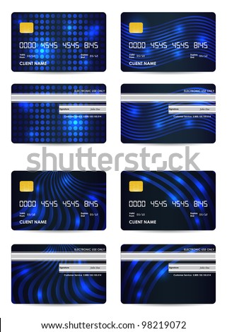 special blue vector credit card set, front and back view