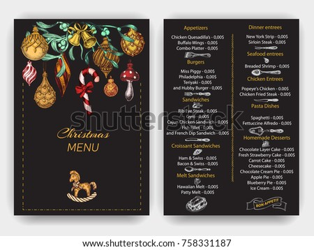 Special Christmas and New Year's menu for the restaurant.