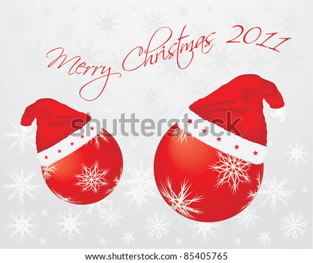 special Christmas background with Santa hats - stock vector