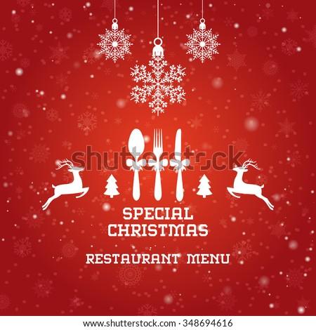 Special Christmas restaurant menu design / Christmas party menu design  #348694616