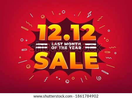 Special day 12.12 Shopping day sale poster or flyer design. 12.12 last month of the year online sale. ストックフォト ©