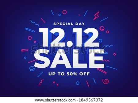 Special day 12.12 Shopping day sale poster or flyer design. 12.12 online sale. ストックフォト ©