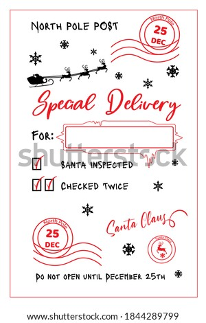 Special delivery from the North Pole. Christmas card template. Santa sack design for crafting decorations, cards, poster. North Pole Post. Christmas post stamp. Hand drawn lettering. Santa sack sign.